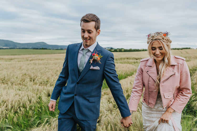 Pink Leather Jacket Bride Bridal Personalised Floral Painted Wifey Angrove Park Tipi Wedding Yorkshire Bloom Weddings