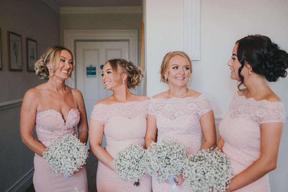 Pink Bridesmaids White Gypsophila Baby's Breath Bouquets Classic Traditional Elegant Round | Ashfield House Wedding Kate McCarthy Photography