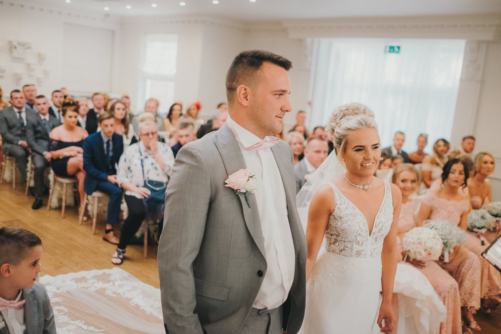 Indoor Ceremony Aisle Bride Groom Vows Classic Traditional Elegant | Ashfield House Wedding Kate McCarthy Photography