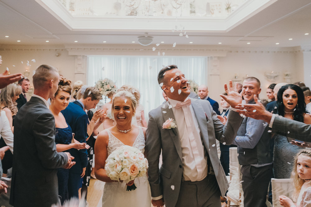 Indoor Ceremony Aisle Bride Groom Vows Rings Classic Traditional Elegant Confetti | Ashfield House Wedding Kate McCarthy Photography