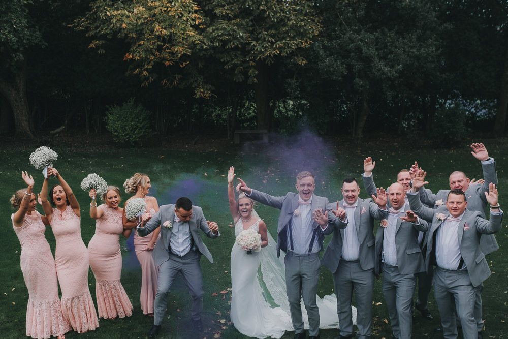 Bride Groom Bridesmaids Groomsmen Group Purple Smoke Bomb Classic Traditional Elegant Fun | Ashfield House Wedding Kate McCarthy Photography