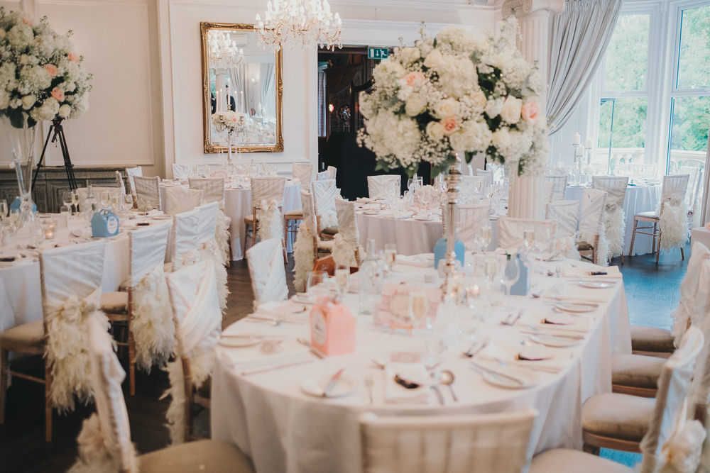 Dinner Reception Classic Elegant White Blush Round Tall Flowers Chair Sashes | Ashfield House Wedding Kate McCarthy Photography