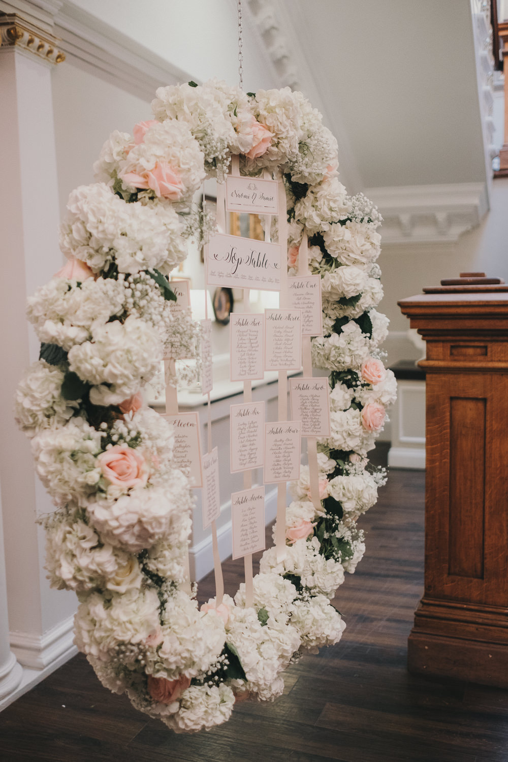 Dinner Reception Classic Elegant White Blush Flowers Round Table Plan Ribbon Stationery | Ashfield House Wedding Kate McCarthy Photography