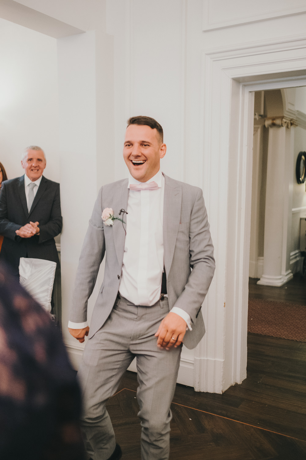 Dinner Reception Classic Elegant Bride Groom Entrance Fun | Ashfield House Wedding Kate McCarthy Photography