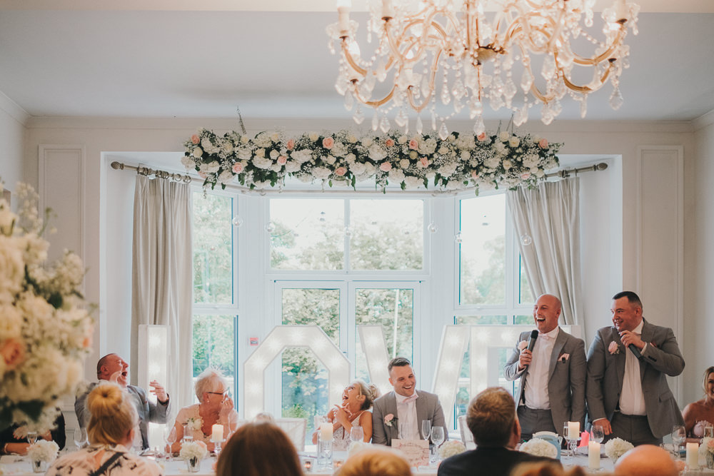 Dinner Reception Classic Elegant Pink White Groomsmen Best Man Bride Speech Fun | Ashfield House Wedding Kate McCarthy Photography
