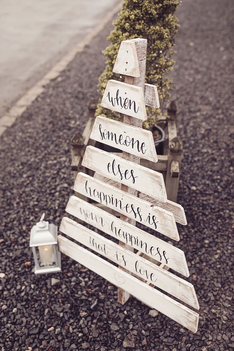 Hand Painted Personalised Sign Modern Calligraphy Rustic Magical Wonderland Askham Hall Wedding Winter Tiree Dawson Photography