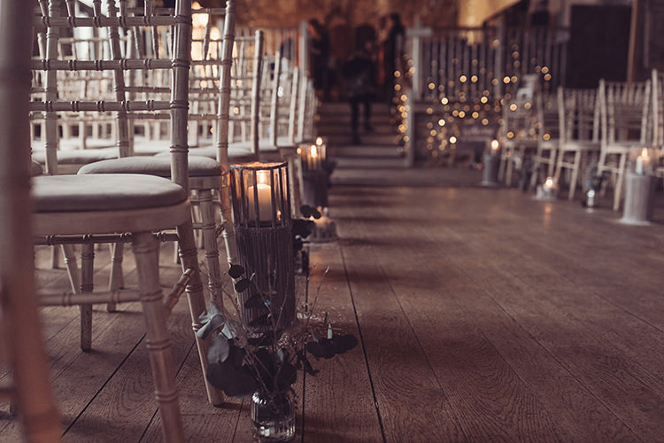 Ceremony Aisle Lanterns Candle Logs Magical Wonderland Askham Hall Wedding Winter Tiree Dawson Photography