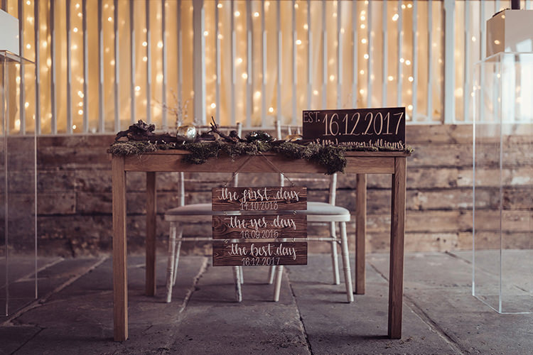 Register Table Hand Painted Personalised Sign Modern Calligraphy Rustic Foliage Moss Magical Wonderland Askham Hall Wedding Winter Tiree Dawson Photography