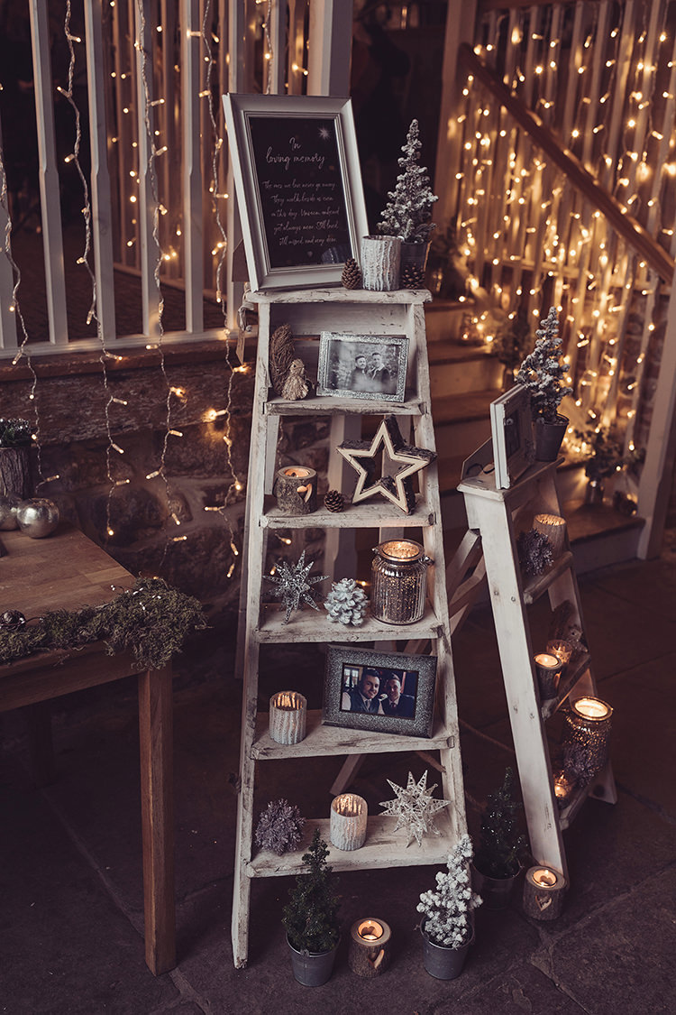 Pea Light Fairy Light Step Ladder Display Welcome Photographs Candles Magical Wonderland Askham Hall Wedding Winter Tiree Dawson Photography