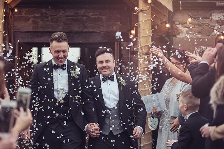 Groom Bow Tie Waistcoat Tails Confetti Magical Wonderland Askham Hall Wedding Winter Tiree Dawson Photography