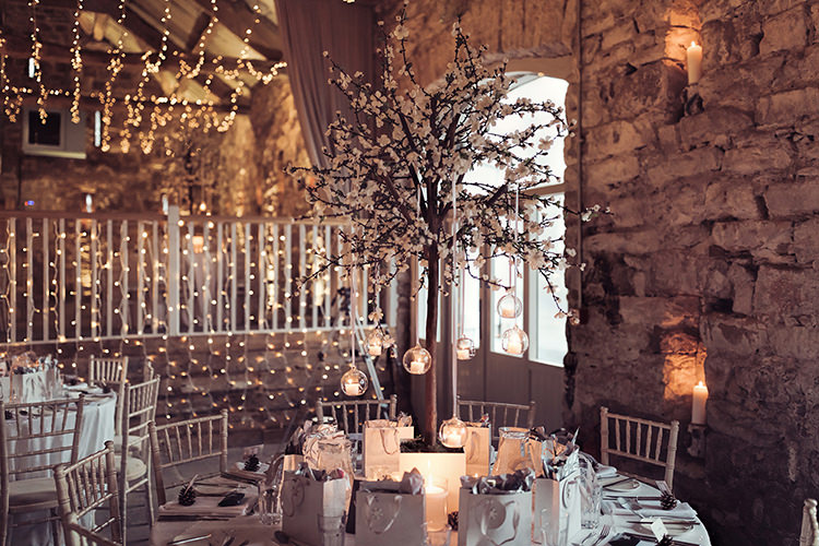 Table Centre Blossom Fake Faux Candle Baubles Magical Wonderland Askham Hall Wedding Winter Tiree Dawson Photography