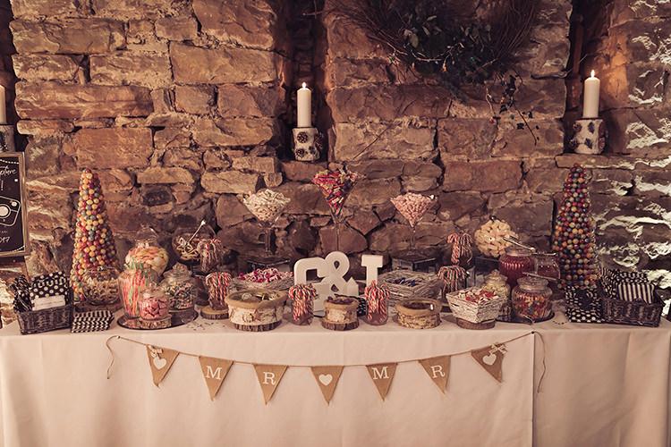 Sweet Treat Table Pyramid Mr & Mr Bunting Hessian Magical Wonderland Askham Hall Wedding Winter Tiree Dawson Photography