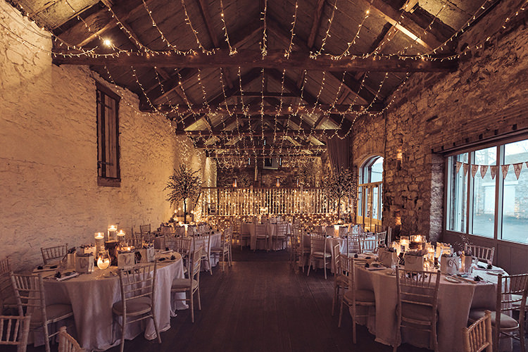 Barn Pea Fairy Light Candelit Magical Wonderland Askham Hall Wedding Winter Tiree Dawson Photography