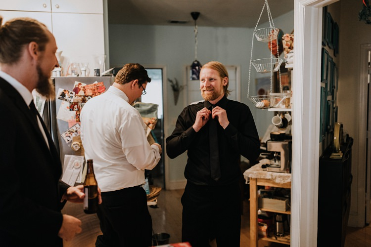 Warehouse Modern Refined Rustic Chic Groom Morning Prep Black Shirt Suit | Boho Industrial Winter Wedding Lunalee Photography