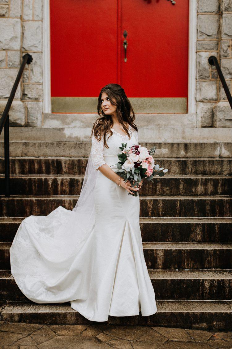 Warehouse Modern Refined Rustic Chic Bride Sweetheart Dress White Blush Burgundy Bouquet | Boho Industrial Winter Wedding Lunalee Photography