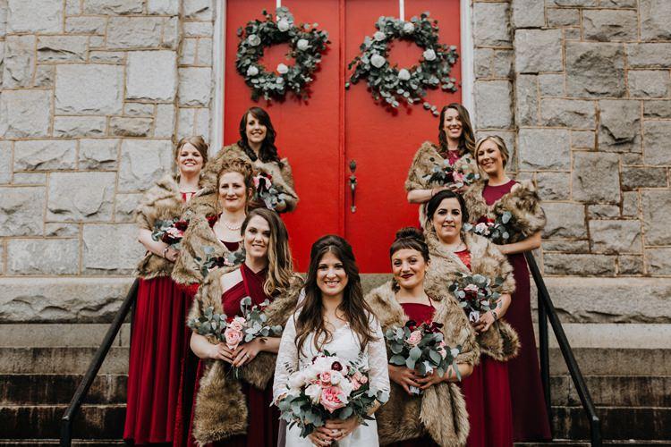 Warehouse Modern Refined Rustic Chic Bride White Blush Burgundy Bouquet Bridesmaids Fur Shrugs | Boho Industrial Winter Wedding Lunalee Photography