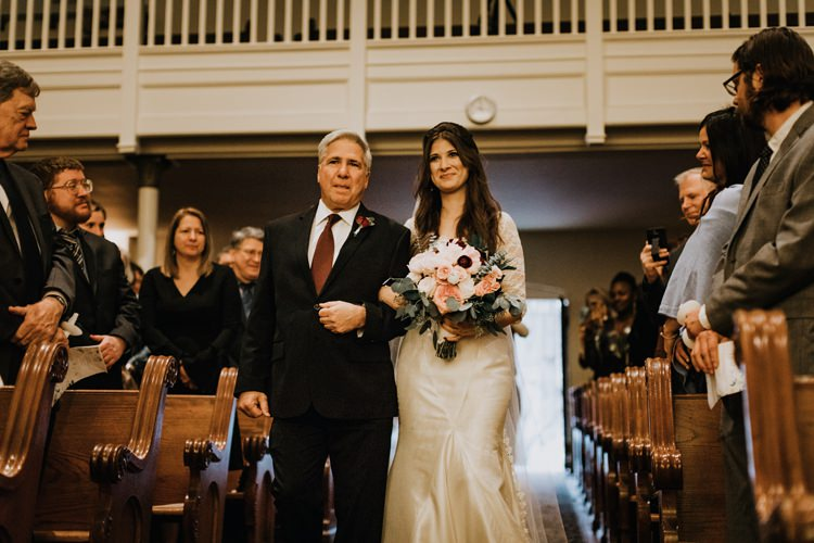 Warehouse Rustic Chic Refined Church Aisle Ceremony Bride Father | Boho Industrial Winter Wedding Lunalee Photography