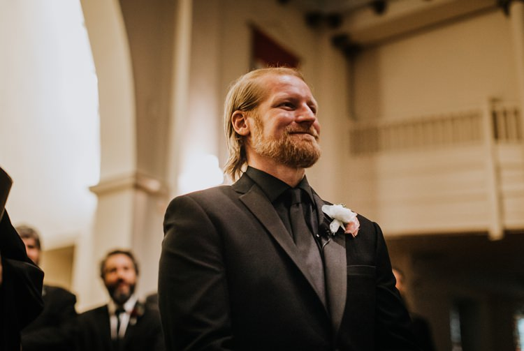 Warehouse Rustic Chic Refined Church Aisle Ceremony Groom | Boho Industrial Winter Wedding Lunalee Photography