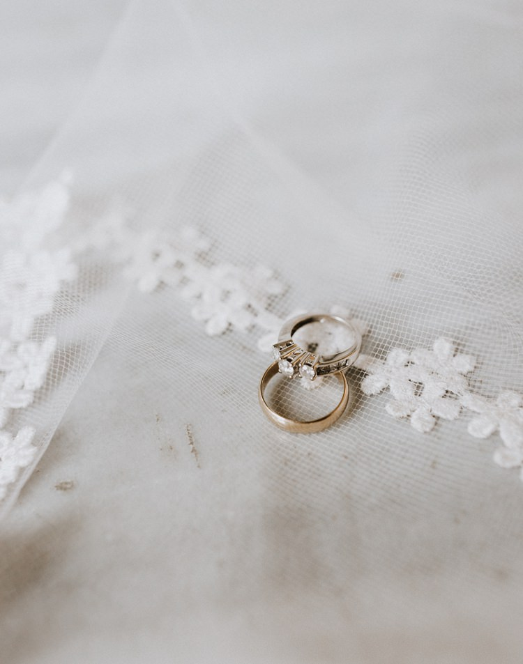 Warehouse Modern Refined Rustic Chic Rings Veil Shot | Boho Industrial Winter Wedding Lunalee Photography