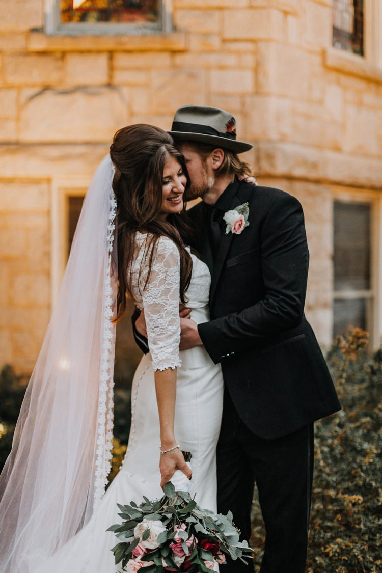 Warehouse Rustic Chic Refined Street Photography Groom Bride Atlanta Embrace | Boho Industrial Winter Wedding Lunalee Photography