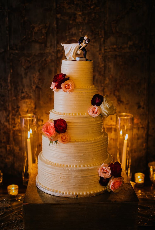 Warehouse Rustic Chic Refined Atlanta King Plow Fresh Flowers Wedding Cake Cute Topper | Boho Industrial Winter Wedding Lunalee Photography