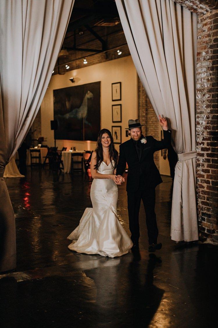 Warehouse Rustic Chic Refined Atlanta King Plow Bride Groom Entrance | Boho Industrial Winter Wedding Lunalee Photography