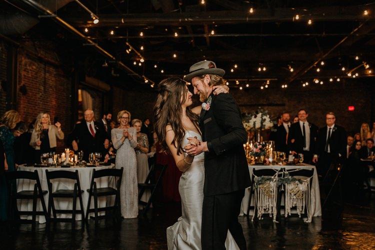 Warehouse Rustic Chic Refined Atlanta King Plow Bride Groom First Dance | Boho Industrial Winter Wedding Lunalee Photography