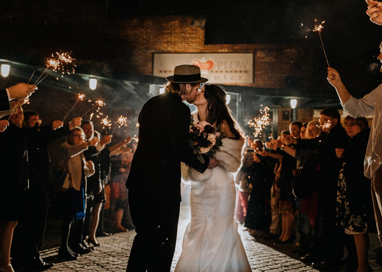 Warehouse Rustic Chic Refined Atlanta King Plow Bride Groom Sparkler Exit | Boho Industrial Winter Wedding Lunalee Photography