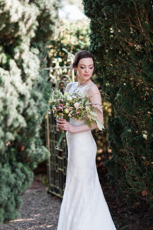 Dress Gown Bride Bridal Lace Botanical Macrame Glass House Wedding Ideas Jo Bradbury Photography