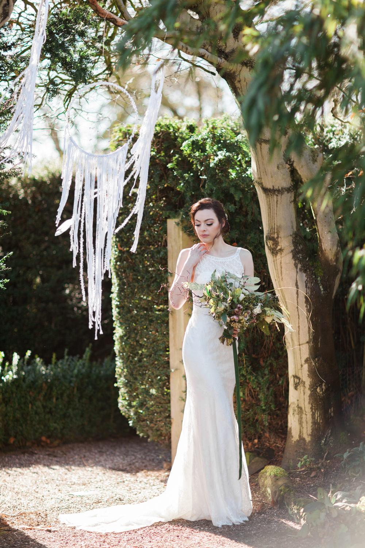 Dress Gown Bride Bridal Lace Train Botanical Macrame Glass House Wedding Ideas Jo Bradbury Photography