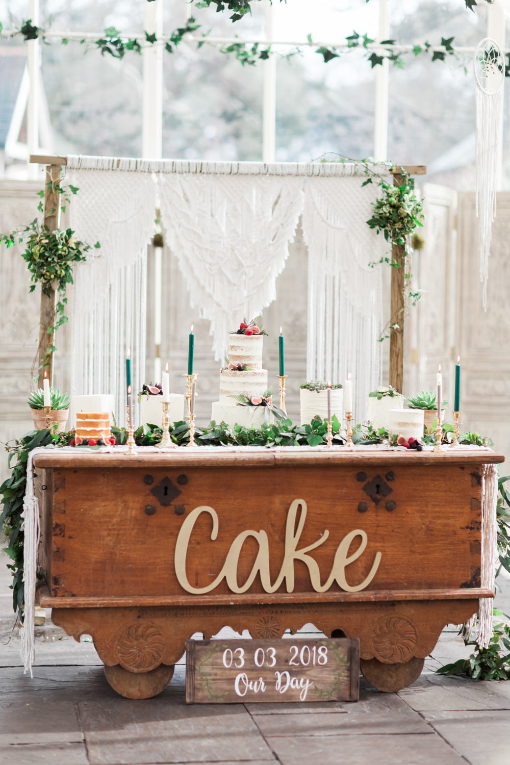 Cake Table Dessert Furniture Dresser Greenery Botanical Macrame Glass House Wedding Ideas Jo Bradbury Photography
