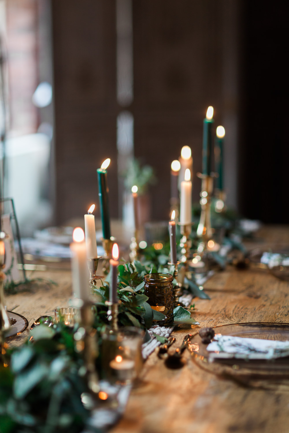 Table Tablescape Candles Greenery Runner Botanical Macrame Glass House Wedding Ideas Jo Bradbury Photography
