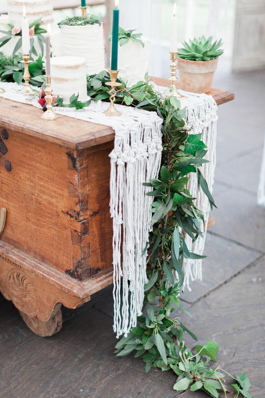 Runner Greenery Foliage Table Decor Tablescape Botanical Macrame Glass House Wedding Ideas Jo Bradbury Photography
