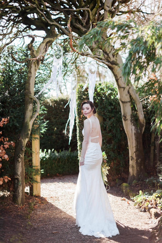 Backless Dress Gown Bride Bridal Botanical Macrame Glass House Wedding Ideas Jo Bradbury Photography