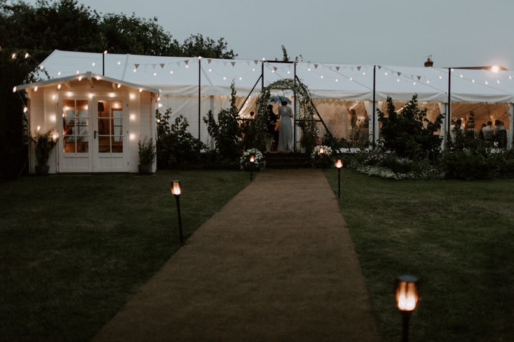 Marquee Lanterns Festoon Lights Tent Evening Botanical Summer Garden Wedding Nottingham Grace Elizabeth Photo & Film