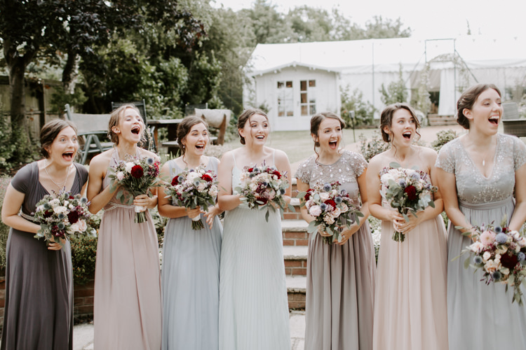 Bridesmaids Pastel Mismatched Dress Bouquets Burgundy Flowers Botanical Summer Garden Wedding Nottingham Grace Elizabeth Photo & Film