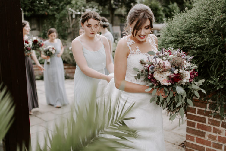 Bouquet Bride Bridal Flowers Greenery Burgundy Botanical Summer Garden Wedding Nottingham Grace Elizabeth Photo & Film