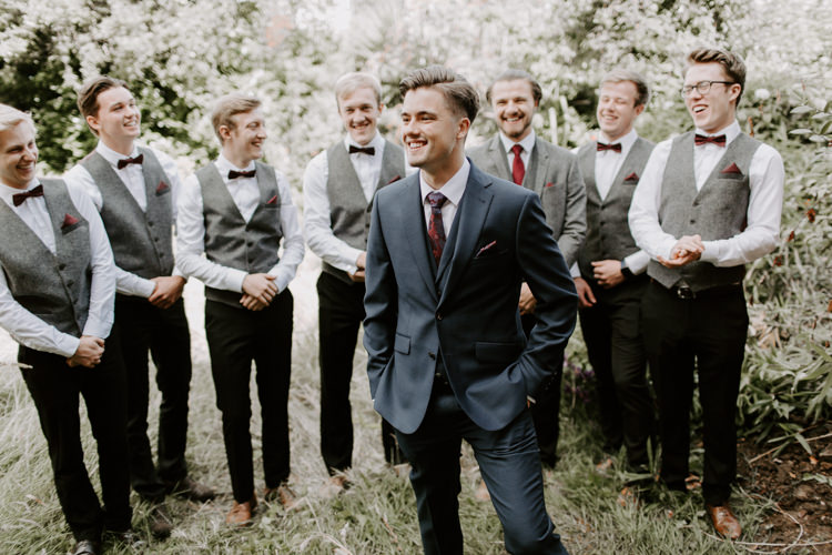 Groom Suit Navy Red Tie Style Outfit Attire Groomsmen Bow Tie Waistcoats Botanical Summer Garden Wedding Nottingham Grace Elizabeth Photo & Film
