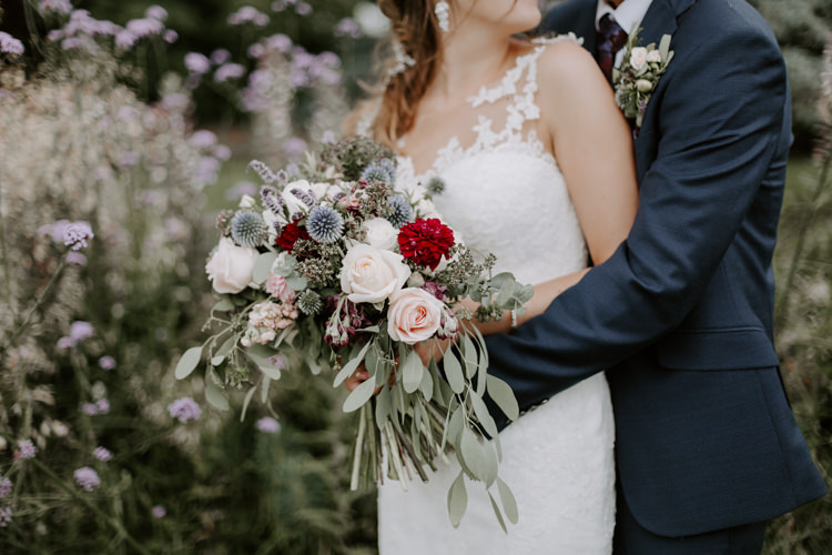 Bouquet Bride Bridal Flowers Greenery Burgundy Dahlia Eucalyptus Rose Botanical Summer Garden Wedding Nottingham Grace Elizabeth Photo & Film