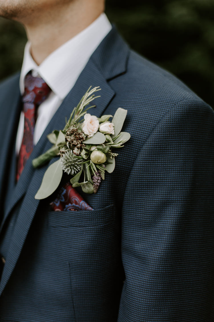 Groom Suit Navy Red Tie Style Outfit Attire Buttonhole Flowers Rosemary Botanical Summer Garden Wedding Nottingham Grace Elizabeth Photo & Film