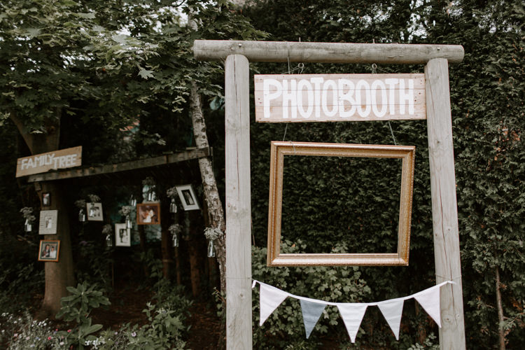 Photo Booth Frame Wooden Gold Bunting Botanical Summer Garden Wedding Nottingham Grace Elizabeth Photo & Film