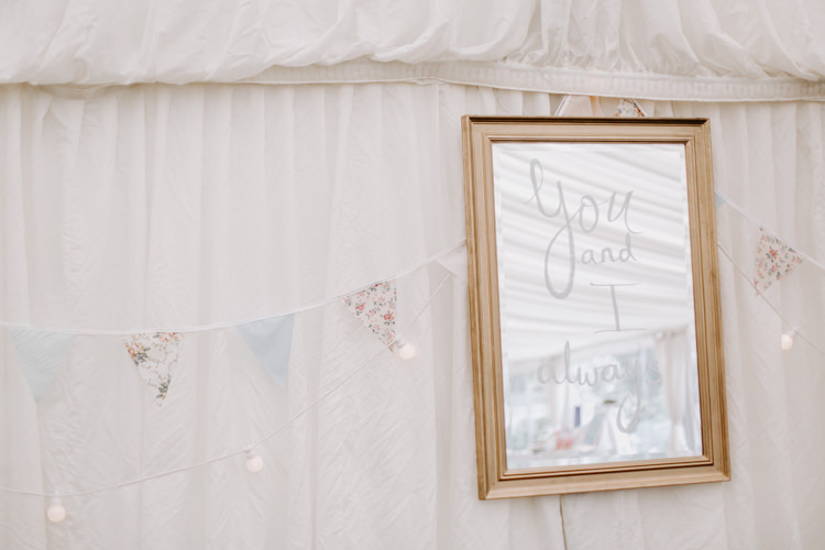 Mirror Quote Sign Love Botanical Summer Garden Wedding Nottingham Grace Elizabeth Photo & Film
