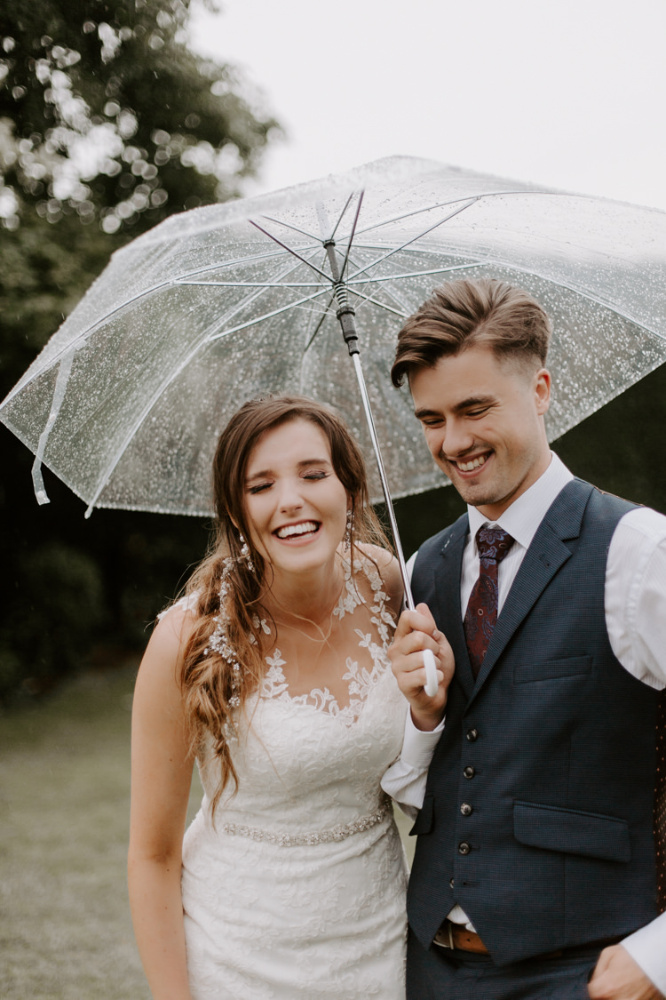 Rain Rainy Umbrella Bride Groom Botanical Summer Garden Wedding Nottingham Grace Elizabeth Photo & Film