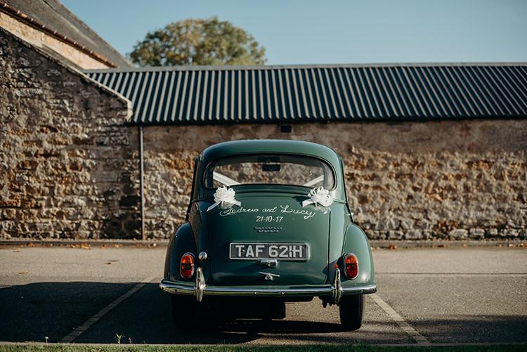 Classic Vintage Car Transport Carnegie Courthouse Wedding Village Hall Scotland Steven Gallagher Photography