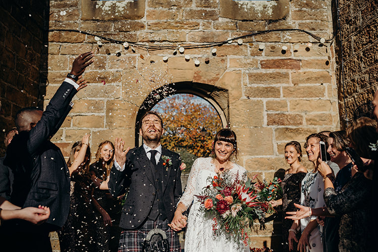 Confetti Throw Carnegie Courthouse Wedding Village Hall Scotland Steven Gallagher Photography