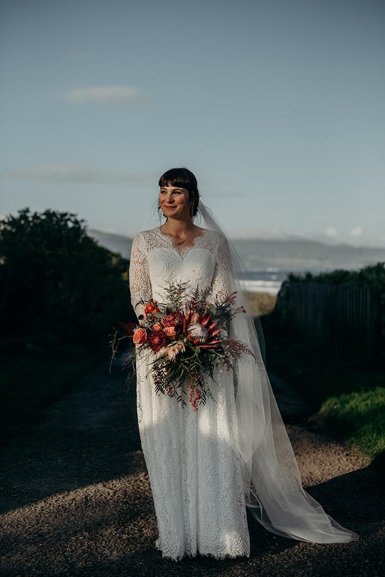 Charlotte Balbier Untamed Love Luna Dress Gown Bride BRidal Lace Sleeves Veil Britten Carnegie Courthouse Wedding Village Hall Scotland Steven Gallagher Photography