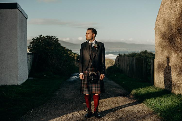 Kilt Tartan Groom Jacket Red Socks Carnegie Courthouse Wedding Village Hall Scotland Steven Gallagher Photography