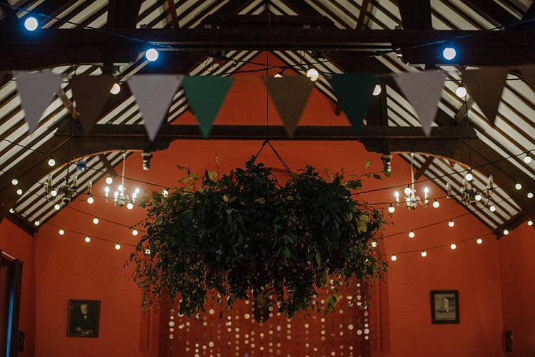 Festoon Light Lighting Decor Bunting Greenery Floral Chandelier Hoop Hanging Installation Carnegie Courthouse Wedding Village Hall Scotland Steven Gallagher Photography