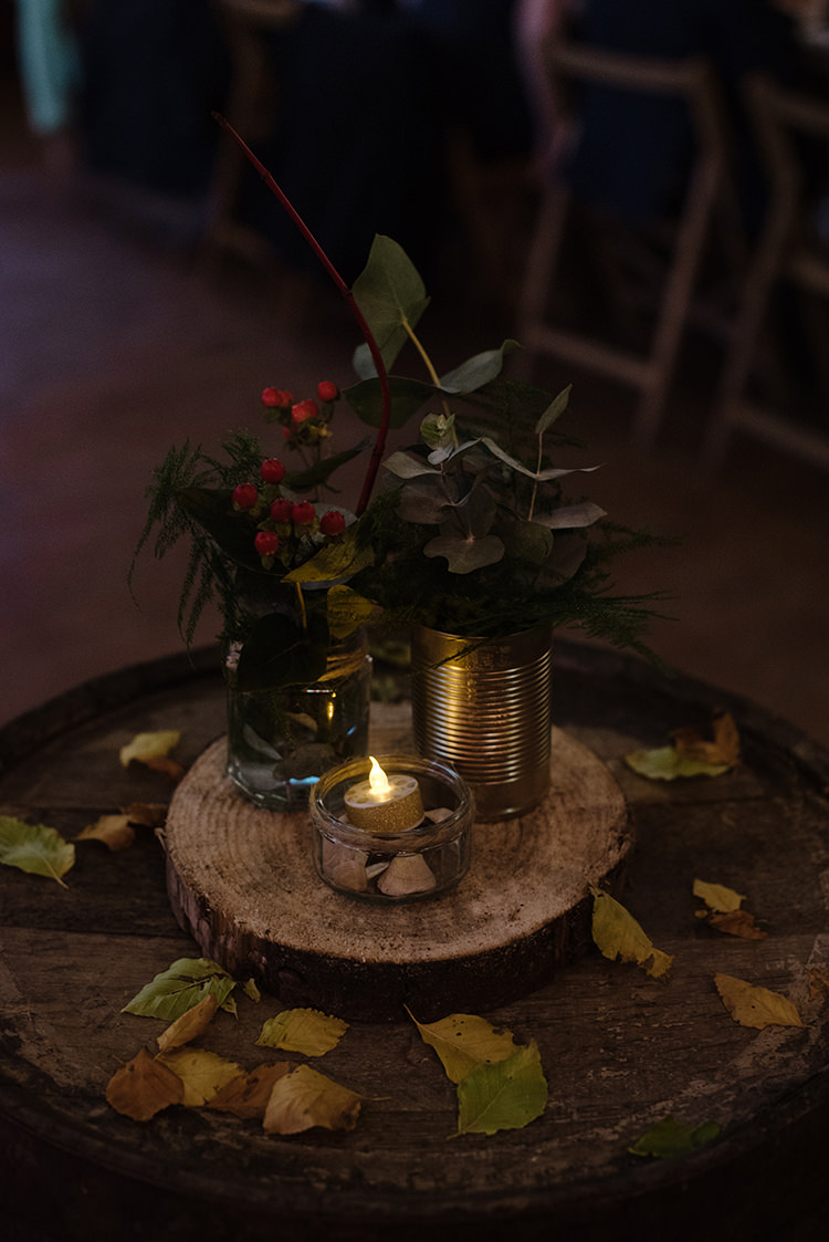 Centrepiece Flowers Log Slice Tin Candles Leaves Carnegie Courthouse Wedding Village Hall Scotland Steven Gallagher Photography