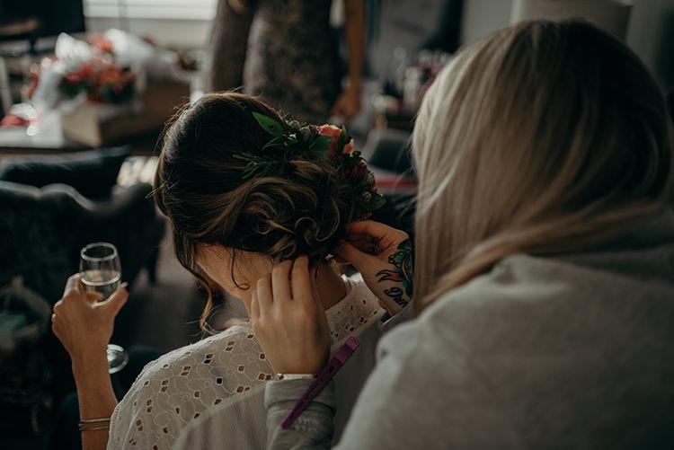 Hair Bride Bridal Fringe Flowers Up Do Carnegie Courthouse Wedding Village Hall Scotland Steven Gallagher Photography